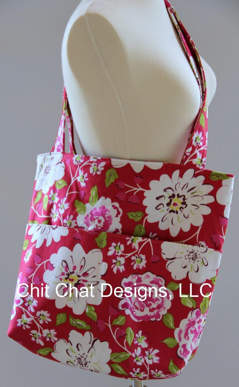 Large Tote Bag Pockets Dena Design's Tea Garden Floral
