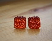 Sparkling Orange Stud Earrings