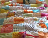4th of July sale, Gorgeous vintage chenille quilt, tropical fruit punch, bright colors, throw 42 x 59