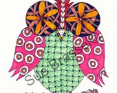 Color Art Print - Happy Hooter