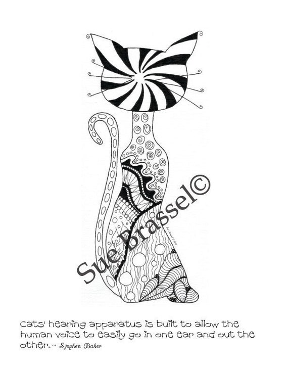 PDF Funky Adult Coloring Page Kitty 3 By SueBrassel On Etsy