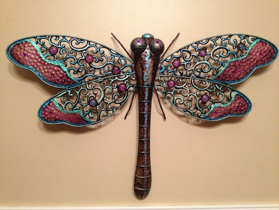 Darby, the metal dragonfly hand painted