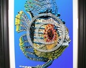 Tropical Fish Fashioned from Computer Parts. Signed Photographic Print.