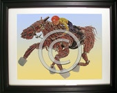 They're Off, Jockey and Racehorse Fashioned from Computer Parts. Signed Photo Print.