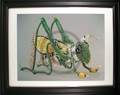 Grasshopper Fashioned from Computer Parts. Signed Photo Print. (H)