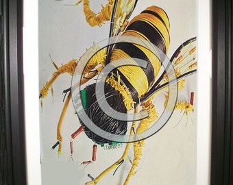 Buzzing Bumble Bee Fashioned from Computer Parts. Signed Photo Print.