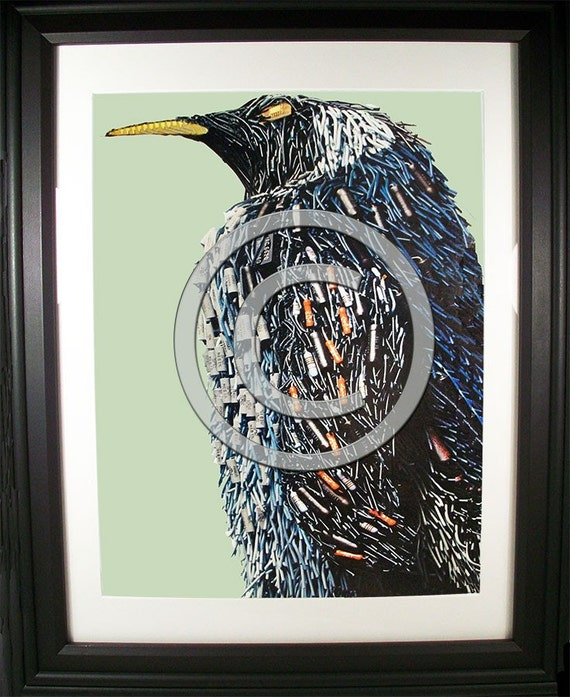 Cool Penguin Fashioned from Computer Parts. Signed Photo Print.