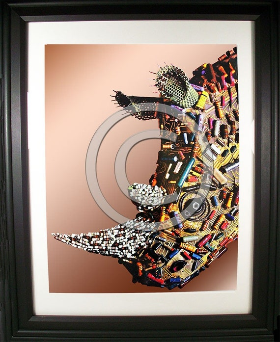 Incredible Rhinoceros Fashioned from Computer Parts. Signed Photographic Print.