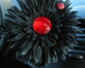 VW Beetle Flower -Black and Red Bling Daisy