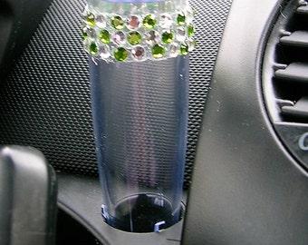 VW Beetle Flower Vase - Diamond and Green Bling