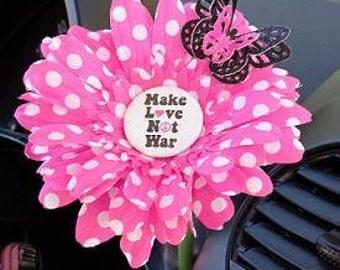 VW Beetle Flower - Pink White Polka Dot Make Love Not War Daisy