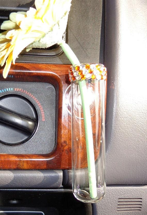VW Beetle Flower Vase for  the Classic Beetle - Diamond and Orange Bling