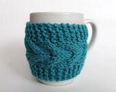 Blue Turquoise Cup Cozy Mug Sleeve