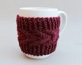Knitted Cup Cozy Mug Sleeve  Burgundy