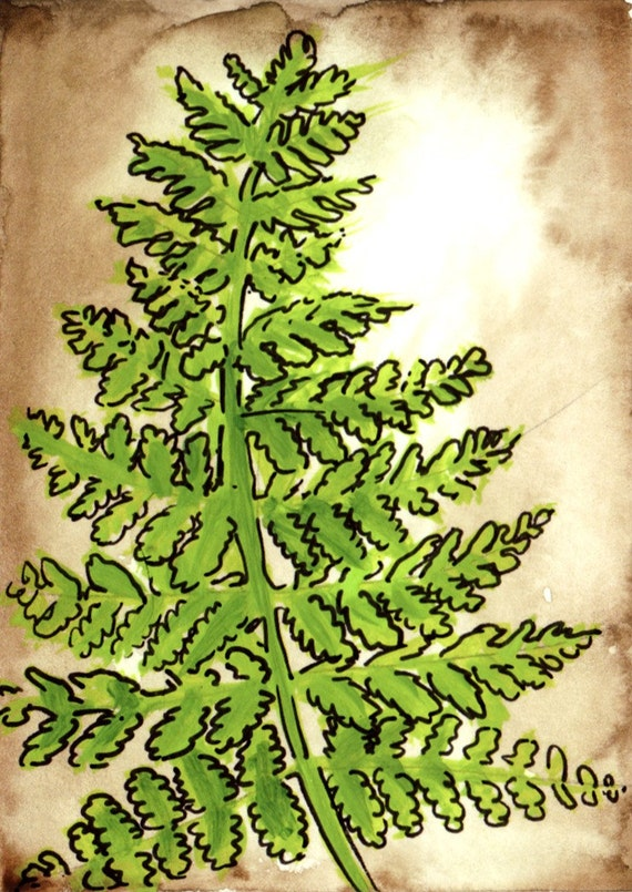 Fern Watercolor Painting - Hayscented Fern Vintage Style ATC - Fine Art Painting Aceo Art Card with Free Shipping