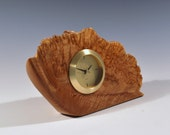 Natural edge maple burl wood clock