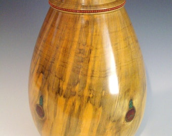Norfolk Island Pine vessel with red jasper beads