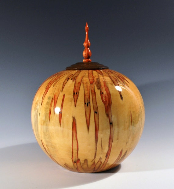 Flamed Box Elder hollow vessel with lid