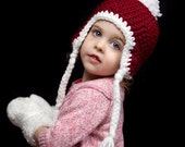 Toddler Baby Red and White Santa holiday Warm hat Photo Prop