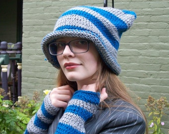The Cheshire's Hat Set: Knit Cheshire Cat Hat Chessur Alice in Wonderland Tim Burton Costume Through the Looking Glass