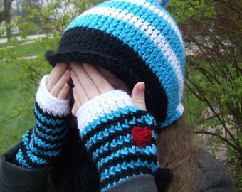 M is for Alice: Knit Bowtie Hat Alice in Wonderland Tim Burton Fingerless Gloves Bow Hat gift idea Tim Burton Gift Winter Accessories