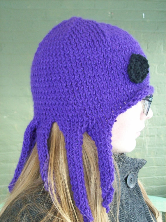Knitting Pattern Octopus Hat : Items similar to The Nervous Octopus: Knit Octopus Hat Cute Winter Fashion Ha...