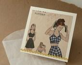 4x4 notecard- Vintage Pattern