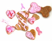 Crunchy Dog Treats Peanut Butter Biscuits Pink Breast Cancer Awareness - DONATE by MynskiandLibelletoo