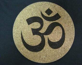 Engraved Yoga Om/Ganesh Cork Trivet or Coaster