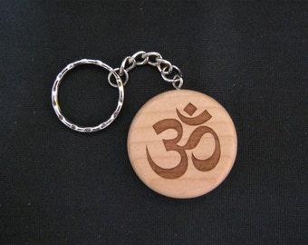 Laser Engraved Yoga Om Maple Key Chain