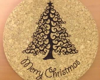 Engraved Christmas Tree Cork Trivet or Coaster, Laser Engraved Christmas Trivet, X-Mas Tree Cork Coaster, Merry Christmas