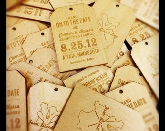 Wooden Save the Date Wedding Announcement Tags - Custom Laser Engraved
