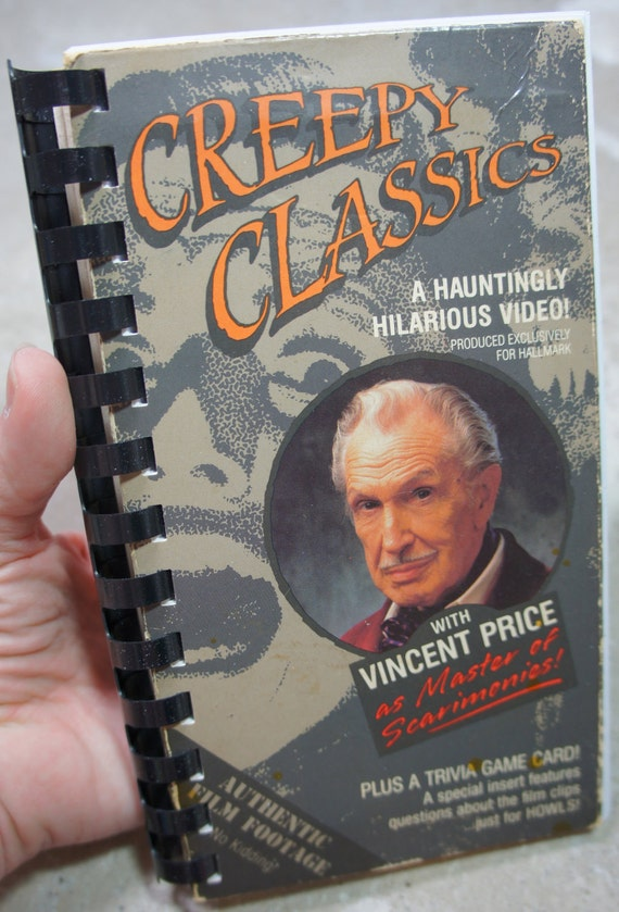 vintage 80's RARE VINCENT PRICE 'creepy classics' recycled vhs notebook