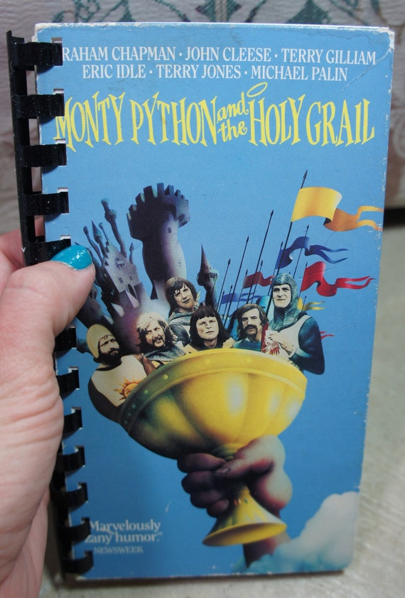 vintage recycled MONTY PYTHON and the HOLY grail vhs notebook