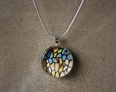 Round Glass Tile Pendant Tiffany Style Lamp Original Fine Art Photograph with metal backing