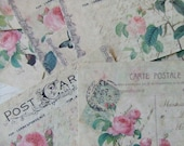 Large notecards - shabby chic - Vintage Postcards with roses - blank - embellishments
