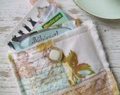 Shabby Chic Antique Inspired - Decorated Credit Card/Business Card Pouch  - PaRIs lemon and aqua