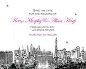Wedding Save the Date or Invitation Las Vegas Skyline