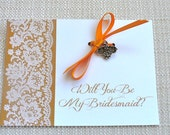 Will You Be My Bridesmaid Wedding Charm Card Gift.  Personalized Cards for the Bridesmaids and Wedding Party