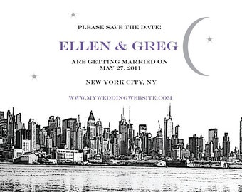 New York City Save the Date or Invitation - Skyline with Moon