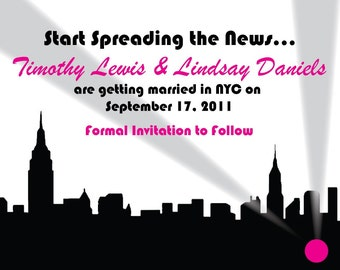 Wedding Save the Date or Invitation NYC Skyline News