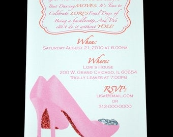 Girls Night Out or Bachelorette Party, Bridal Shower, Ladies Lunch Invitation with sparkly shoes