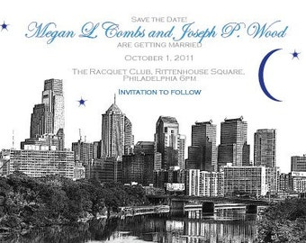Save the Date or Invitation with Philadelphia Skyline
