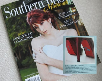 I DO Crystal Shoe Stickers with HEART in Blue As Seen in Southern Bride Magazine