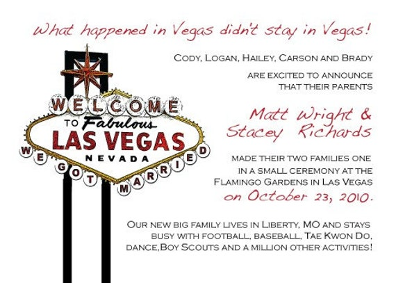 Las Vegas Wedding Invitation Wording: Las Vegas Announcement Save The Date Or Invitation