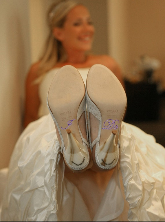 Bridal Shoe Crystal I DO Shoe Stickers in PURPLE for your Wedding Shoes