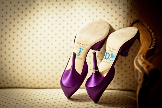 Brides Shoe Stickers - BLUE DIAMOND RING - I Do Wedding Shoe Stickers