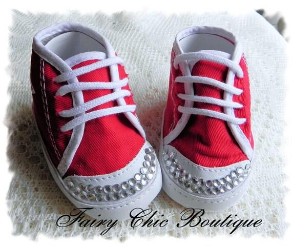 Hi Top Converse Baby Booties Red