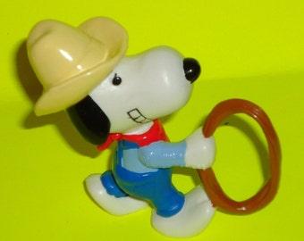 Retro 1980s Snoopy Cowboy PVC Figure