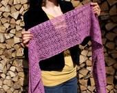 SALE: Lace Scarf Cerise Pink Cotton Hand Crochet in Estonia